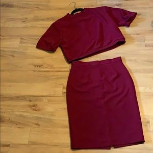 Two Piece Maroon Skirt and Top
